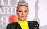 US singer Pink attends The BRIT Awards 2019 held at The O2 Arena in London, February 20, 2019. (Mike Marsland/ WireImage via Getty Images/via JTA)