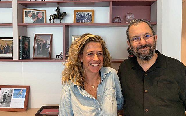 Granddaughter of late Israeli prime minister Yitzhak Rabin, Noa Rothman, (L) and former prime minister Ehud Barak (R) on July 1, 2019. (courtesy)