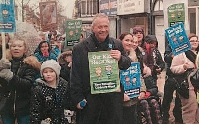 Labour MP John Mann with children demonstrating on behalf of the children's hospital ward in his constituency of Bassetlaw. (Courtesy)