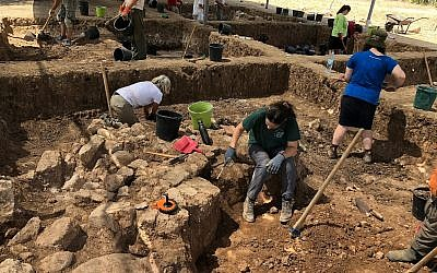 Volunteers at the Tell es-Safi/Gath Archaeological Project, July 2018. (Amanda Borschel-Dan/Times of Israel)