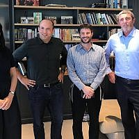 (L-R) Ayelet Shaked, Naftali Bennett, Bezalel Smotrich and Rafi Peretz announcing a merger between religious right-wing parties, to be called United Right, July 29, 2019. (Courtesy)