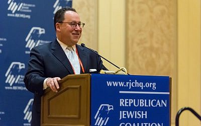 Matt Brooks, executive director of the Republican Jewish Coalition, addresses the group's annual confab on March 16, 2019 in Las Vegas, Nevada (Courtesy)