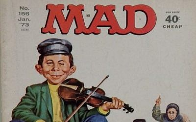 Mad Magazine's iconic mascot Alfred E. Neuman parodies Fiddler on the Roof on the cover of a 1973 issue.