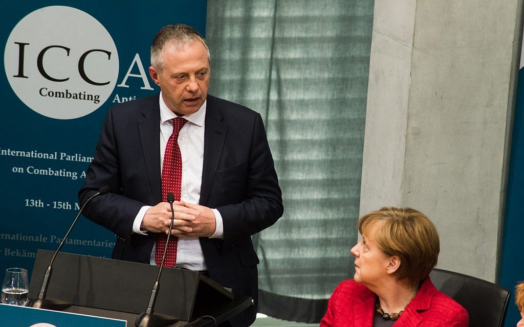Labour MP John Mann with German Premier Angela Merkel at the International Coalition for Combating Antisemitism. (Courtesy)