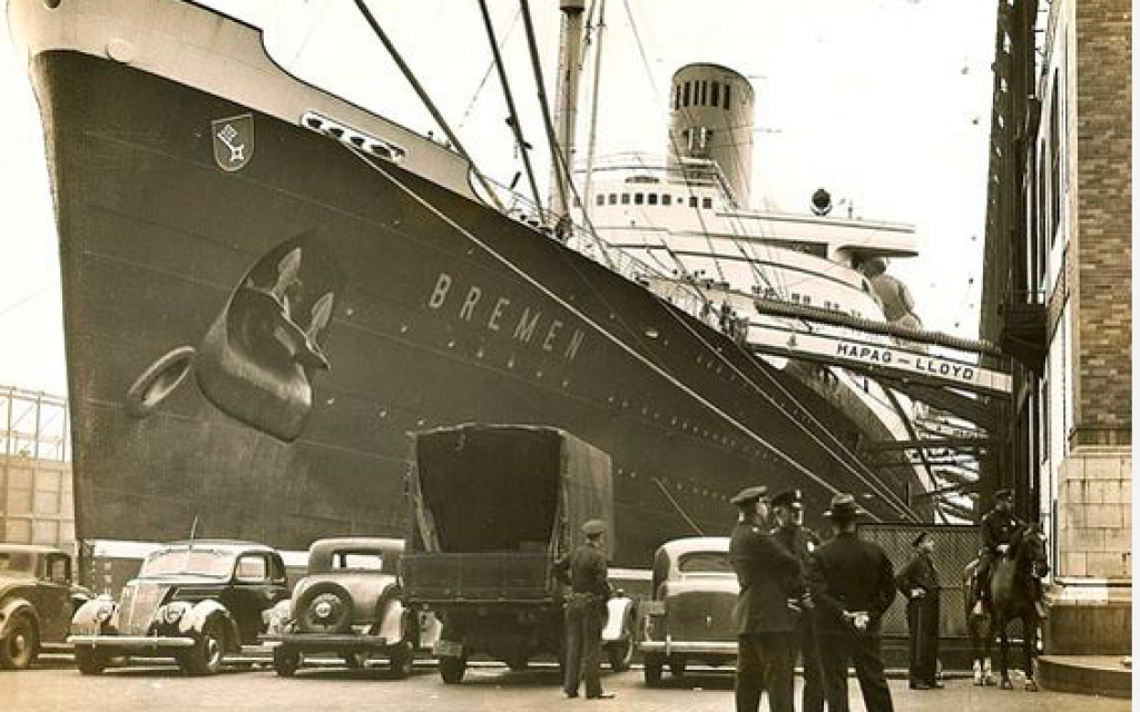 The German luxury liner S.S. Bremen at Pier 86 in New York. (Acme Newspictures)