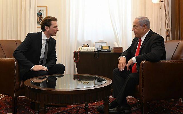 Former Austrian chancellor Sebastian Kurz and PM Netanyahu meet in Jerusalem, July 10, 2019 (Kobi Gideon/GPO)
