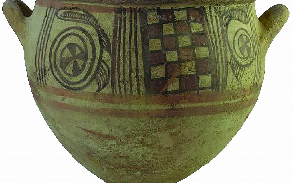 Philistine Bichrome Krater, a large bowl for mixing wine from the 11th century BCE (Melissa Aja/Courtesy Leon Levy Expedition to Ashkelon)
