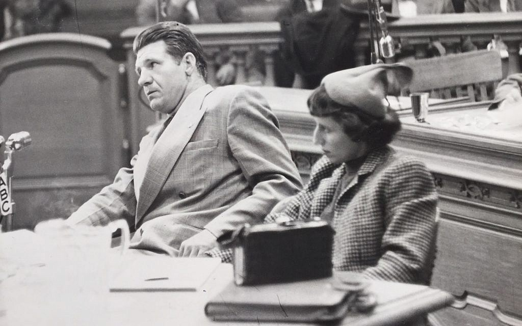 William 'Bill' Bailey and his attorney, Doris Brin Walker, before the House Un-American Activities Committee on December 5, 1953. (Michael Bailey)