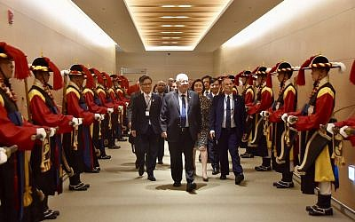 President Reuven Rivlin arrives for an official visit to South Korea on July 14, 2019. (Tomer Reichman (courtesy)/GPO)