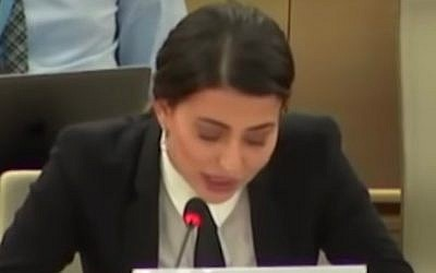 Former Miss Iraq Sarah Idan speaks at the UN Human Rights Council in Geneva on July 2, 2019. (Screen capture: YouTube)