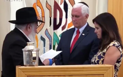 (From L-R) Rabbi Yisroel Goldstein blesses US Vice President Mike Pence and Second Lady Karen Pence at the Chabad of Poway on July 10, 2019. (Screen capture/Twitter)