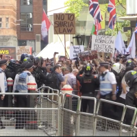 Far-right protesters demonstrate in London against jailing of Tommy Robinson on July 10, 2019. (Screen capture/The Independent)