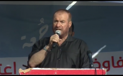Senior Hamas official Fathi Hamad speaking to Palestinians in the border region between Israel and the Gaza Strip on July 12, 2019. (Screenshot:Youtube)