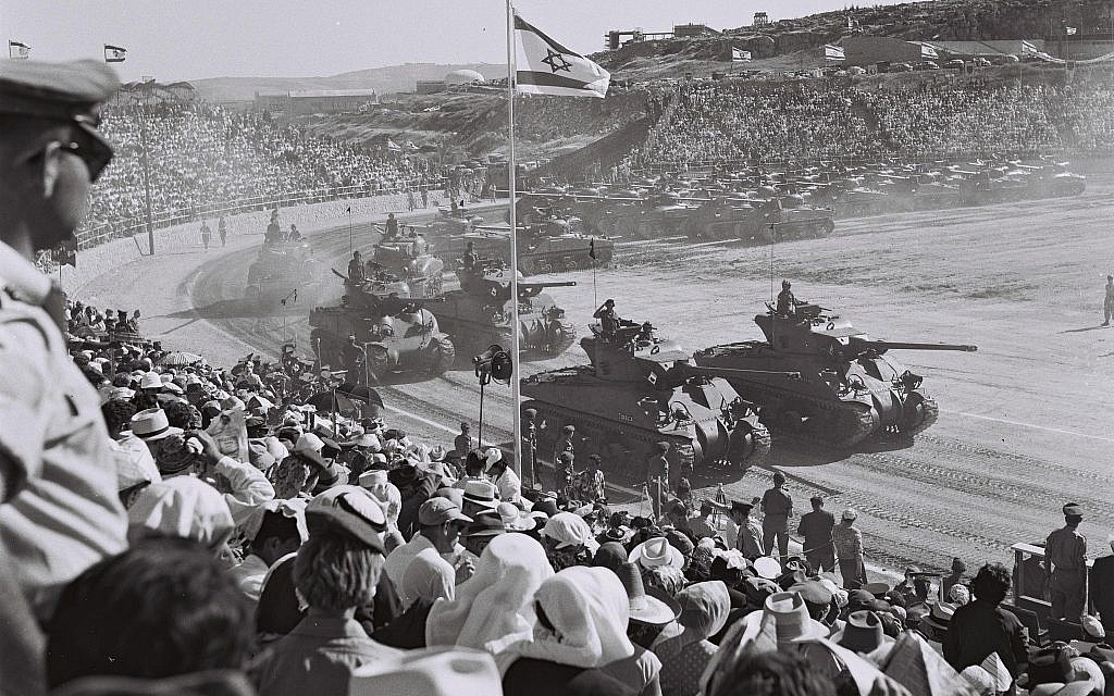 Sherman tanks take part in a military parade in Jerusalem on Independence Day, April 24, 1958. (Avraham Amir/Wikimedia)