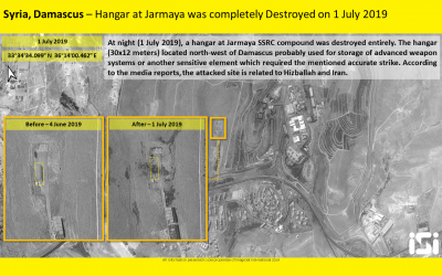 Satellite photo of one of the sites hit in an alleged Israeli airstrike on Iranian sites in Syria on July 1, 2019. (ImageSat International)