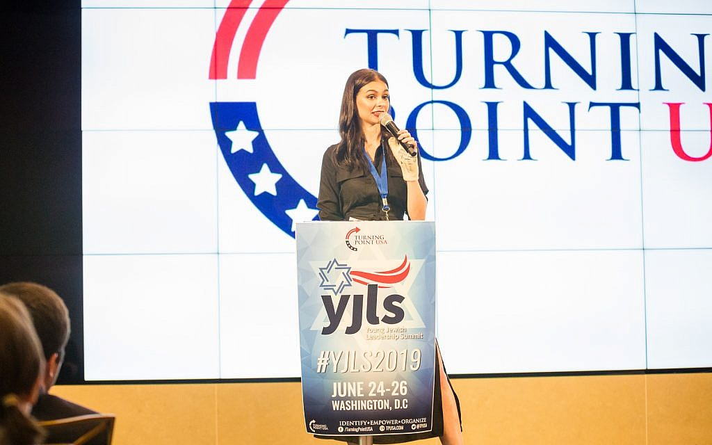Elizabeth Pipko speaks at the Turning Point USA - Young Jewish Leadership Summit, June 24, 2019, in Washington, DC. (Jonathan Williams)