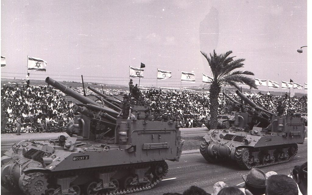 M-50 self propelled guns take part in a military parade in Tel Aviv on Independence Day, May 6, 1965. (Avraham Amir/Wikimedia)