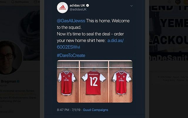 Adidas accidently posted a message calling for Jews to be gassed after an automated promotion was hijacked by trolls. (Screenshot)