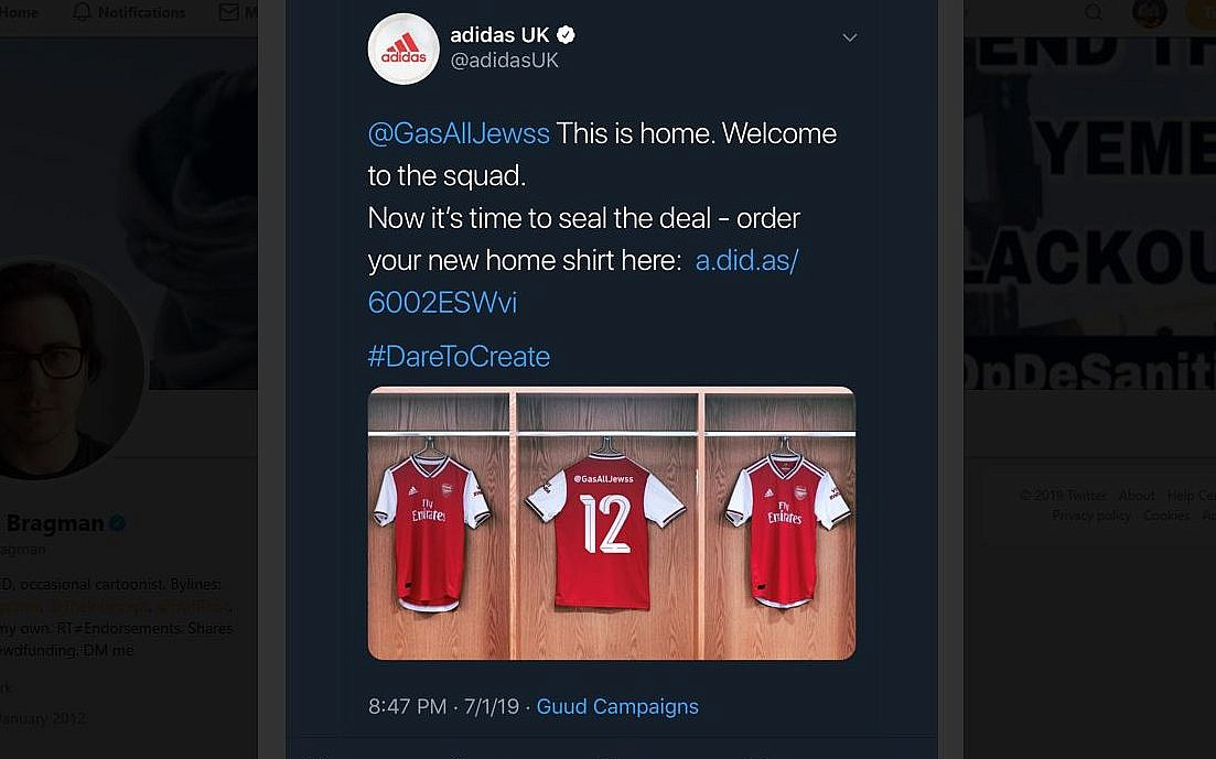 Adidas apologizes for tweet calling for gassing of Jews