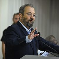 Former PM Ehud Barak speaks during a press conference announcing the establishment of a new political party in Tel Aviv, June 26, 2019. (Flash90)