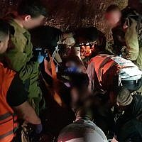 First responders at the scene of a car-ramming outside Jerusalem, July 6, 2019. (Hatzalah)