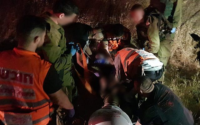 First responders at the scene of a car-ramming outside Jerusalem, July 6, 2019. (Hatzalah)