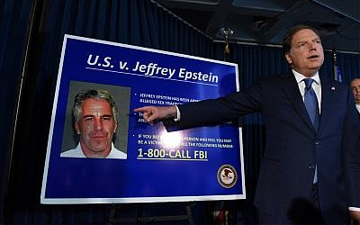 US Attorney for the Southern District of New York Geoffrey Berman announces charges against Jeffery Epstein on July 8, 2019, in New York City. (Stephanie Keith/Getty Images/AFP)