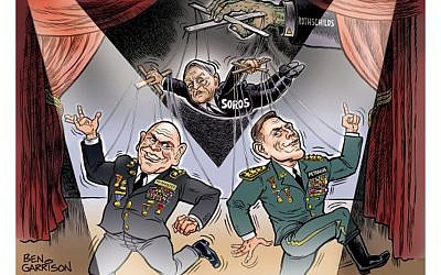 An anti-Semitic cartoon drawn by artist Ben Garrison depicting US government officials as puppets of George Soros and the Rothschilds. (Ben Garrison)