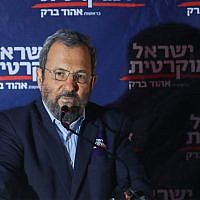 Ehud Barak, head of the Israel Democratic Party speaks during an election campaign event in Tel Aviv on June 26, 2019. (Hadas Parush/Flash90)