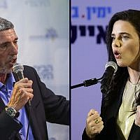 Union of Right-Wing Parties leader Rafi Peretz (left) and New Right leader Ayelet Shaked (Flash 90)