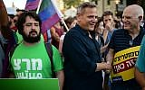 Meretz party chairman Nitzan Horowitz, center, attends a protest of the LGBTQ community in Tel Aviv, July 14, 2019. (Tomer Neuberg/Flash90)
