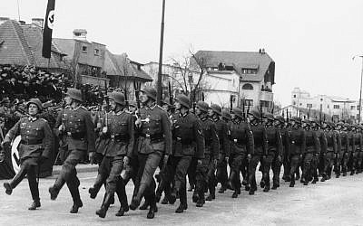 German troops march in Bucharest, Romania on December 27, 1940. (AP Photo)