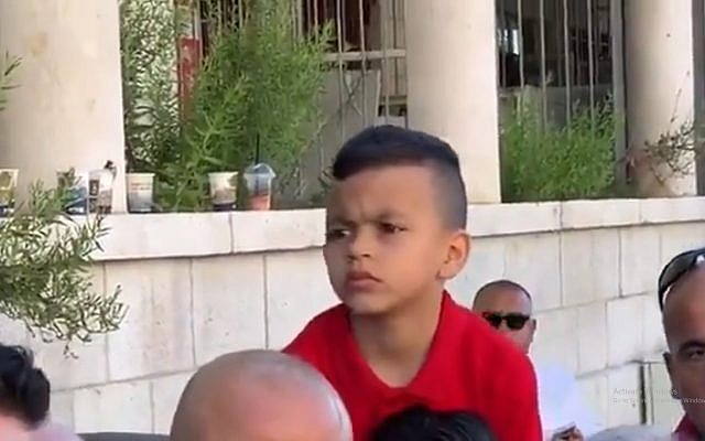 Four-year old Issawiyeh resident Muhammad Rabi Elayyan, who Palestinians say was summoned by Israeli police on suspicion that he threw rocks at officers (Twitter screenshot)