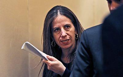 Sigal P. Mandelker, the undersecretary for terrorism and financial intelligence at the US Treasury in Dubai, United Arab Emirates, July 12, 2018. (AP Photo/Kamran Jebreili)