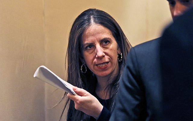 Sigal P. Mandelker, the undersecretary for terrorism and financial intelligence at the US Treasury in Dubai, United Arab Emirates, July 12, 2018. (AP Photo/Kamran Jebreili)