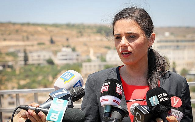 New Right chairwoman Ayelet Shaked speaks to reporters in the West Bank settlement of Efrat on July 22, 2019.  (Gershon Elinson/Flash90)
