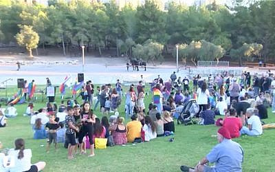 Attendees at Beit Shemesh's first gay pride event, July 25, 2019. (Screenshot/Walla news)