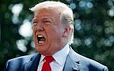 US President Donald Trump talks to reporters on the South Lawn of the White House before departing for his Bedminster, New Jersey, golf club, July 5, 2019. (AP Photo/Evan Vucci)