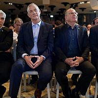 From left: Yair Lapid, Benny Gantz, Moshe Ya'alon, Gabi Ashkenazi of the Blue and White party at its official campaign launch in Shefayim, July 14, 2019. (Gili Yaari/Flash90)