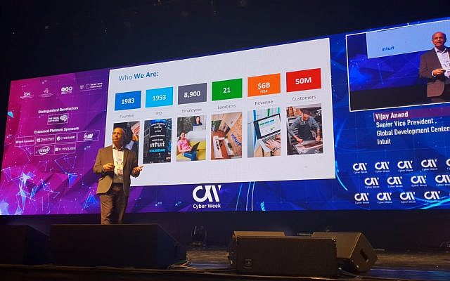Vijay Anand, senior vice president of Global Development Centers at Intuit Inc. speaking at Cyber Week, on June 25, 2019 (Intuit)