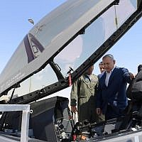 Prime Minister Benjamin Netanyahu inspecting an Adir F-35 stealth fighter at the Nevatim Air Force Base on July 9, 2019. (Ariel Hermoni/Defense Ministry)