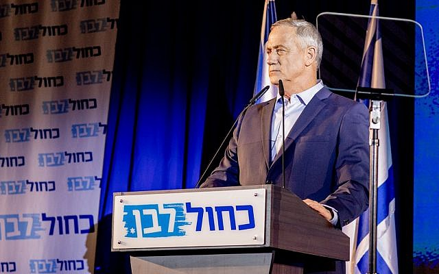 Blue and White leader Benny Gantz addressing party activists in the coastal town of Shefayim, July 14, 2019. (Jane Peimer)