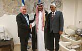 Likud MK Avi Dichter meeting Saudi blogger Mohammed Saud on July 22, 2019. (Credit: Knesset Spokesperson's Office)