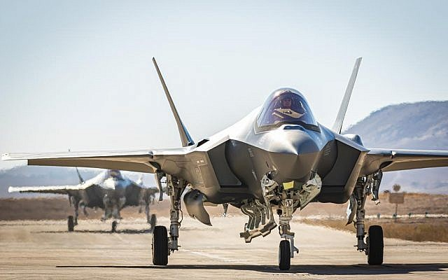 Two new F-35 fighter jets land at the Nevatim Air Base in southern Israel from the United States on July 14, 2019. (Israel Defense Forces)