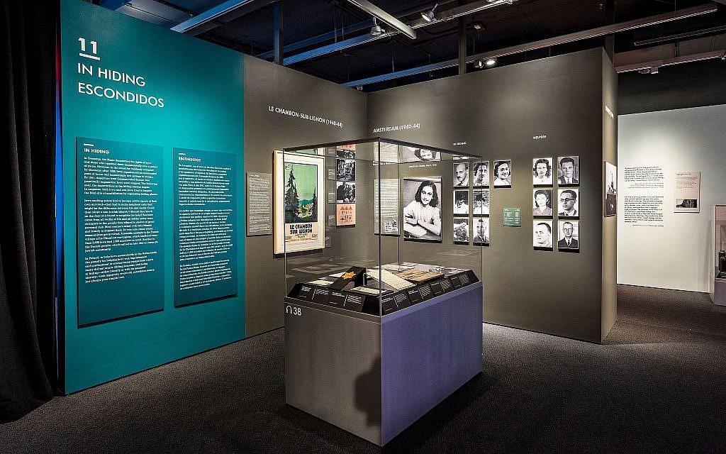Anne Frank artifact case at the 'Auschwitz: Not Long Ago. Not Far Away' exhibition, 2019 (Museum of Jewish Heritage/John Halpern)