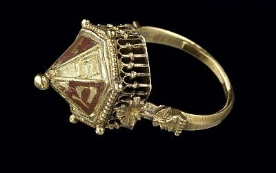 "A Jewish ceremonial wedding ring, inscribed ""mazel tov,"" made of gold and enamel, from the Colmar Treasure, circa 1300-1347. (Musée de Cluny – Musée national du Moyen Âge, RMN-Grand Palais/Art Resource, NY via Metropolitan Museum of Art/via JTA)"
