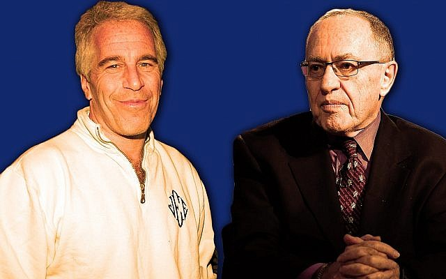 Alan Dershowitz, right, represented sex offender Jeffrey Epstein in a controversial 2008 plea deal and used to send him copies of his books to review before publication (JTA illustration by Laura E. Adkins)