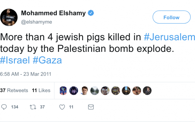 A anti-Semitic tweet by Mohammed Elshamy, an Egyptian photojournalist who was hired by CNN. (Twitter)