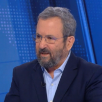"Ehud Barak on Channel 12's ""Meet the Press,"" July 13, 2019 (screenshot)"