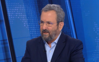 "Ehud Barak on Channel 12's ""Meet the Press,"" July 13, 2019 (screenshot)"